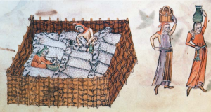 Sheep pen, from the Luttrell Psalter, c. 1320-40